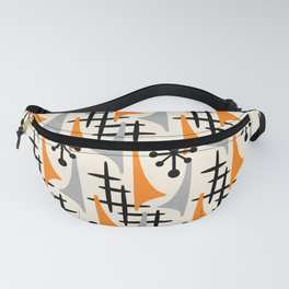 Mid Century Modern Atomic Wing Composition Orange & Gray Fanny Pack