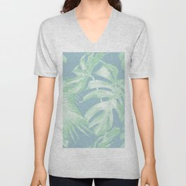 Tropical Leaves Luxe Pastel Sea Turquoise Blue Green Unisex V-Neck