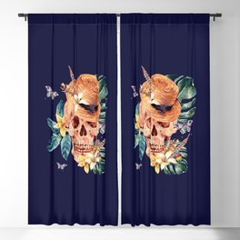 Tropical Latin Skull With Straw Hat Monstera Leaves South American Floral Kingdom Blackout Curtain