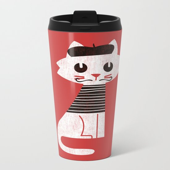 Mark the cat goes to Paris Metal Travel Mug