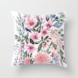"Loose watercolor floral bouquet, ""Clara"" Throw Pillow"