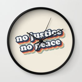 No Justice No Peace BLM 2020 Wall Clock