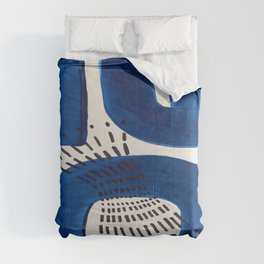 Colorful Mid Century Modern Abstract Fun Shapes Patterns Navy Blue Abstract Expressionism Comforters