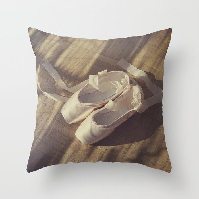 Ballet dance shoes Throw Pillow