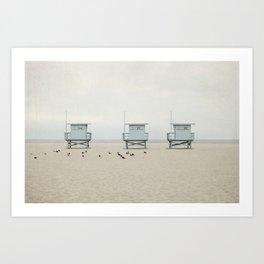 Lifeguard Towers with Birds Art Print