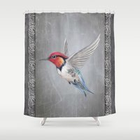 hummingbird Shower Curtains featuring hummingbird by haroulita