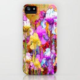 MIXED IRIS FLORAL AVOCADO ART DESIGN iPhone Case