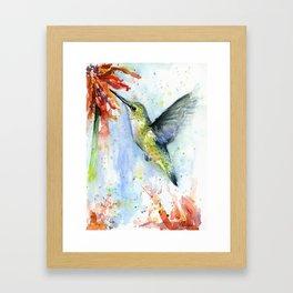 Hummingbird Red Flower Watercolor Bird Framed Art Print