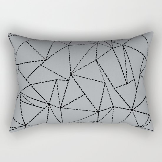 Ab Dotted Lines B on Grey Rectangular Pillow