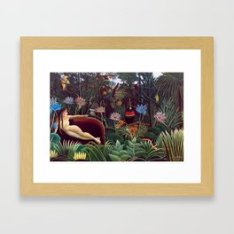 The Dream by Henri Rousseau 1910 // Jungle Lion Flowers Native Female Laying Colorful Landscape Framed Art Print