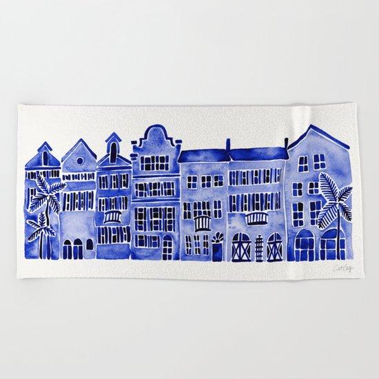 Row of Houses – Navy Palette Beach Towel