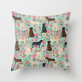 Labrador Retriever dog breed floral pattern for dog lover chocolate lab golden retriever labradors Throw Pillow