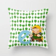E for elf Throw Pillow