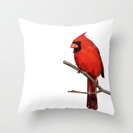 Nothern Cardinal - Low poly digital art Throw Pillow