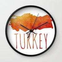 turkey Wall Clocks featuring Turkey by Stephanie Wittenburg