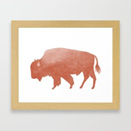 Watercolor Bison in Peach Framed Art Print