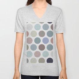 Polka dot pattern. Pastel color dot on white background Unisex V-Neck