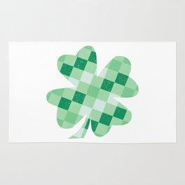 Checkered Shamrock. Four Leaf Clover. St Patrick's Day Rug
