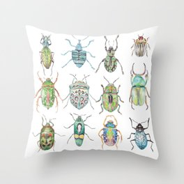 Beetles in Greens Throw Pillow