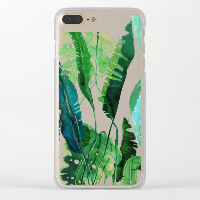 tropical compilation pink Clear iPhone Case