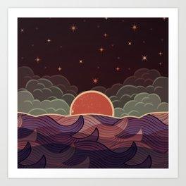 Ocean at Night Art Print