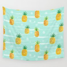 Pineapple Dots  Wall Tapestry