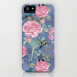Vintage Watercolor hummingbird and English Roses on blue Background iPhone Case