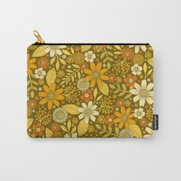 1970s Retro Flowers Pattern in Yellow, Orange & Olive Green Carry-All Pouch