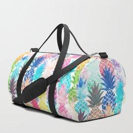 Hawaiian Pineapple Pattern Tropical Watercolor Duffle Bag