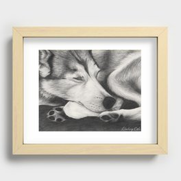 Sleeping Wolf Recessed Framed Print