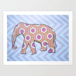 Elephant- Pink Chevron  Art Print