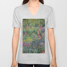 The Iris Garden at Giverny by Claude Monet Unisex V-Neck