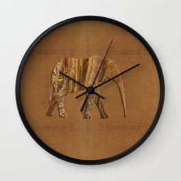 Rainforest Elephant - Tribal African Art Style Wall Clock