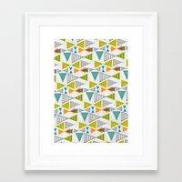mid century modern Framed Art Prints featuring Geometric Mid Century Modern  Triangles by Ryan Deighton