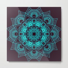 blue mandala flower Metal Print