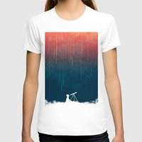 night T-shirts featuring Meteor rain by Picomodi
