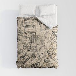 Passport Stamps Collage Print Comforters
