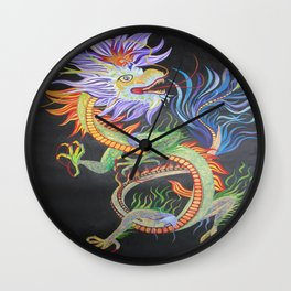 Bright and Vivid Chinese Fire Dragon Wall Clock