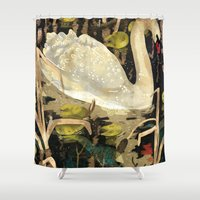 swan Shower Curtains featuring Swan by Lara Paulussen