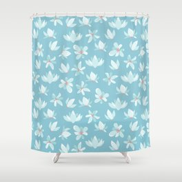 Elegant pastel blue white coral modern floral illustration Shower Curtain