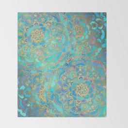 Sapphire & Jade Stained Glass Mandalas Throw Blanket