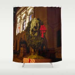 Chicago's Lions in Winter #1 (Chicago Christmas/Holiday Series) Shower Curtain