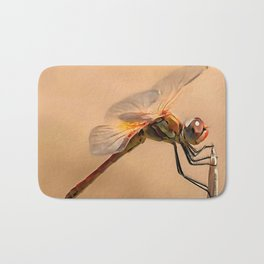 Painted Dragonfly Isolated Against Ecru Bath Mat