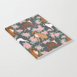 Boxer florals floral pattern dog portrait pet friendly dog breeds boxers Notebook