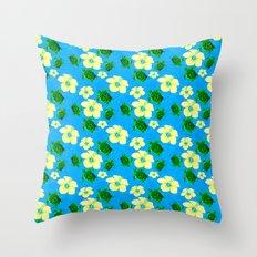 Yellow Hibiscus Hawaiian Pattern Throw Pillow