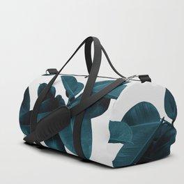 Indigo Blue Plant Leaves Duffle Bag