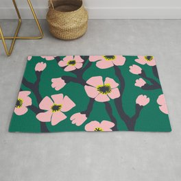 Pink Blooms Everywhere No 01 (square) Rug