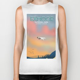 Exmoor National park vintage travel poster. Biker Tank