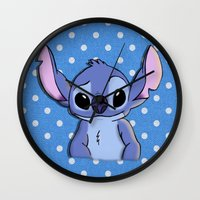 lilo and stitch Wall Clocks featuring Lilo and Stitch - Stitch by Julia Kolos