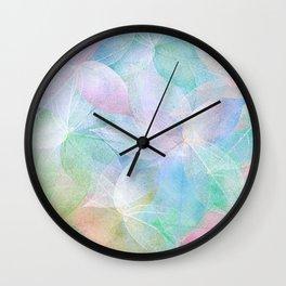 Pastel Colored Leaf Skeletons Wall Clock